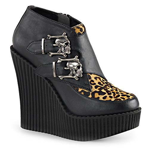 Women Black Wedges Shoes Leopard Print Boots Monk Strap Platform Creepers Skull Size: 9