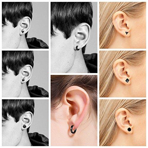 01547d475a163 Besteel 6 Pairs Stud Earrings Hoop Earrings for Men Women - Import ...