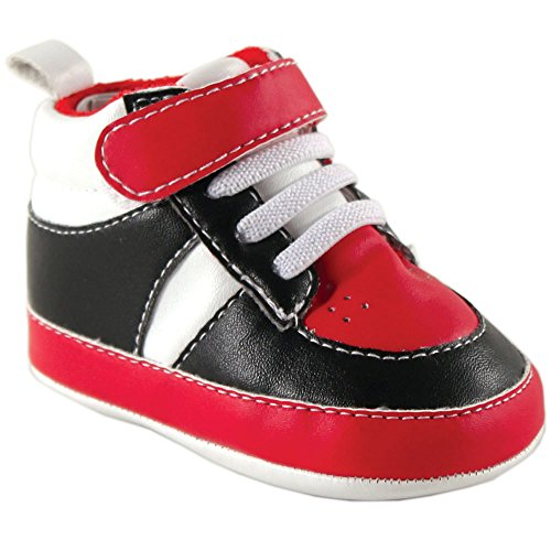Luvable Friends Basketball Sneaker (Infant), Black/Red, 12-18 Months M US Infant