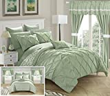 Chic Home CS0588-AN 20 Piece Jacksonville Complete Bed Room In A Bag Super Pinch Pleated Design Reversible Chevron Pattern Comforter Set, Sheet, Window Treatments And Decorative Pillows, Queen, Green