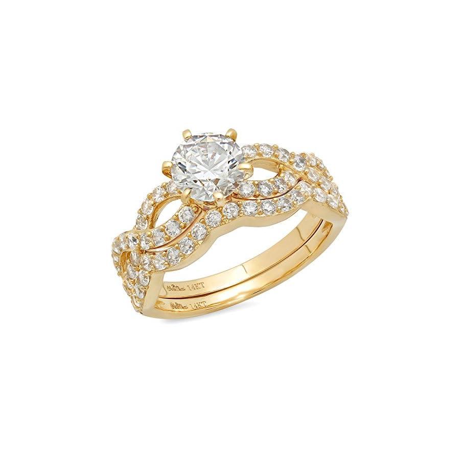 Clara Pucci 1.4 CT Round Cut Pave Halo Bridal Engagement Wedding Ring Band Set 14k Yellow Gold