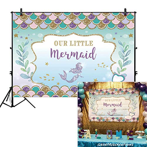 Allenjoy 6x4ft Under The Sea Little Mermaid Princess Backdrop Purple Pink Scales Glare Glitter Ocean Nautical for Birthday Party Girl Baby Shower Backdrops Background]()