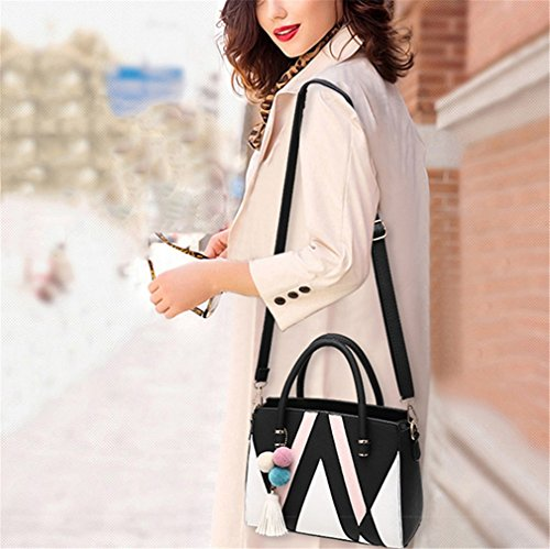 Women Casual Women Crossbody Women Tote For Bag Bag Panelled Patchwork Handbag Bag Black Women 5BAAISq7