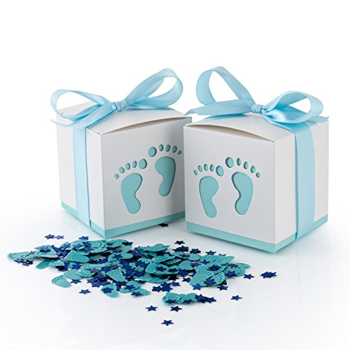 50pcs Baby Shower Candy Boxes, Baby Favor Box Gift Candy Boxes Party Gable Favor Boxes  Paper Treat Boxes with Craft Ribbon and Cute Footprints for Baby Shower,Wedding Party(Includes Confetti )