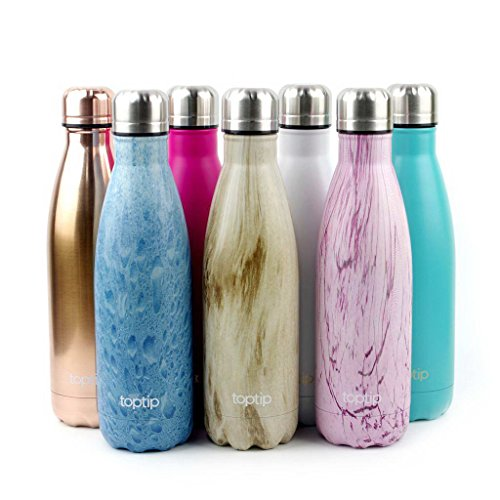 TOPTIP Double Wall Vacuum Insulated Stainless Steel Water Bottle, Perfect for Outdoor Sports, BPA free, Classic Cola Shaped, 17oz / 500ml. (Matte Pink)