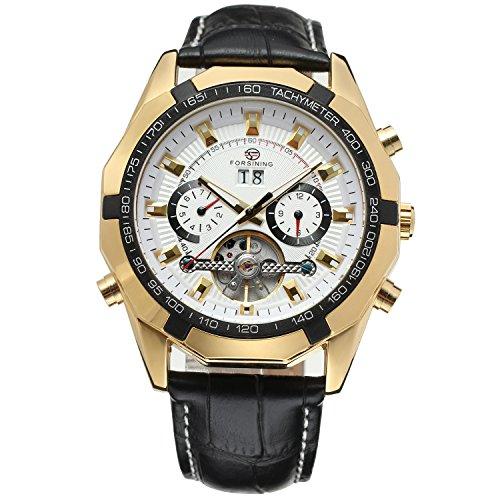 Forsining Men's Self winding Original Automatic Tourbillion Calendar Leather Strap Wrist Watch FSG340M3T6