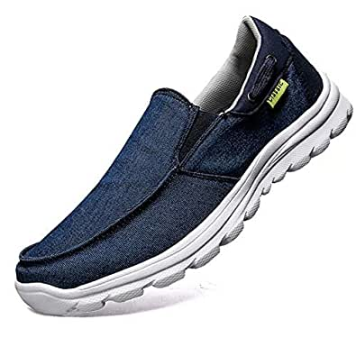 visionreast Mens Slip on Loafers Canvas Boat Shoes Casual Walking Outdoor Driving Deck Shoes Blue Size: _EU39 = 6.5 (D) M US