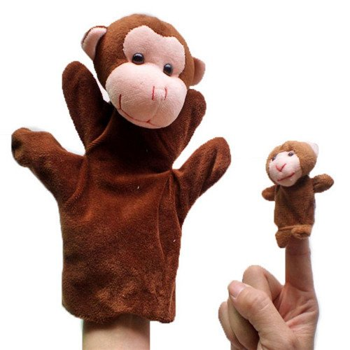2Pcs (1 Big+1 Small) Lovely Kids Baby Plush Toys Finger Puppet Talking Props Animals Hand Puppets^monkey.