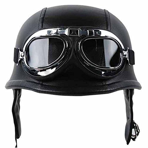 Half Helmet Black Dot Adult German Style added leather protection with goggles - Goggles Style
