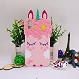 Jinxtech Pink Unicorn Shaped Adorable 3D Cute Cartoon Character Soft Rubber Silicone Case with a Strap for iPhone X (5.8 Inch)(Pink Unicorn)