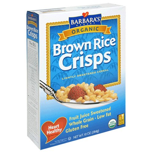 Barbaras Bakery Brown Rice Crisps, Fruit Juice Sweetened Cereal, 9-Ounce Boxes (Pack of 6)