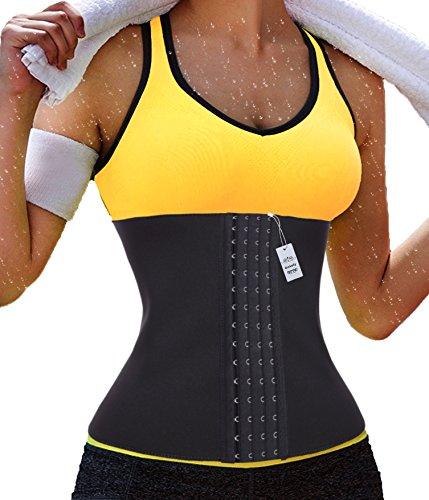 Néoprène femmes Fat Burner Hot Sauna Shapers Thermo taille formateur Gotoly (moyen, jaune (abdomen mince))
