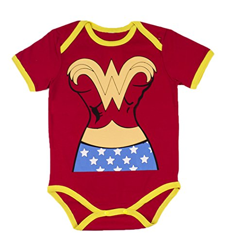 StylesILove Super Hero Inspired Short Sleeved Costume Baby Bodysuit (90/12-18 Months, Superwoman) (Superwoman Baby Costumes)