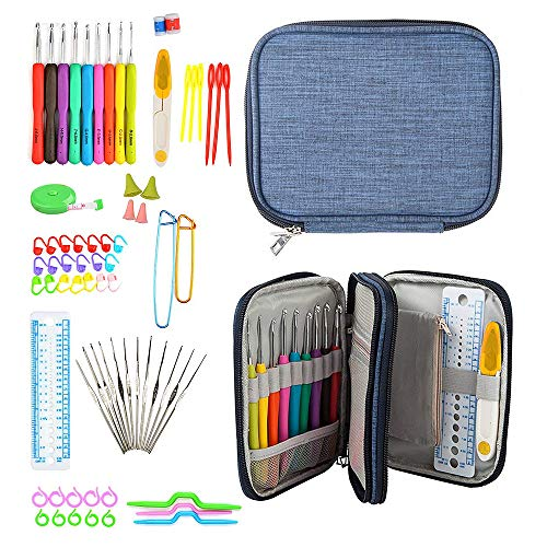 72pcs Crochet Hooks Set with Case, Professional Whole Knitting Needle Tools, Comfort Soft Grip Handle, Double Zipped Organizer Bag for the Skilled and Beginner ()