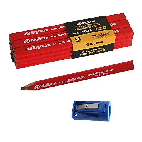 Big Horn 19850 Carpenter's Pencil Sharpener & 7'' long x 9/16'' Wide Pencil Kit by Big Horn