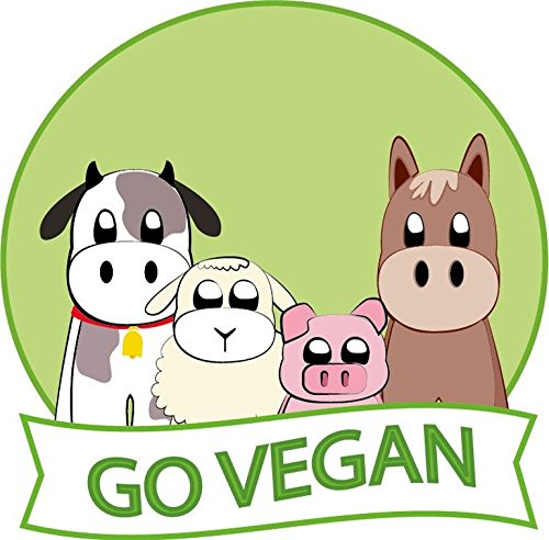 Cartoon Funny Go Vegan Sign Badge Sticker Decal Design 5'' X 5''