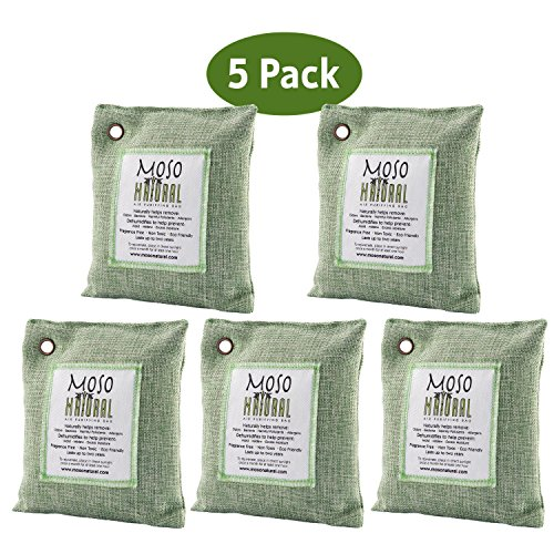 Moso Natural Air Purifying Bag. Odor Eliminator for Cars, Closets, Bathrooms and Pet Areas. Captures and Eliminates Odors. (Green, 5 Pack)