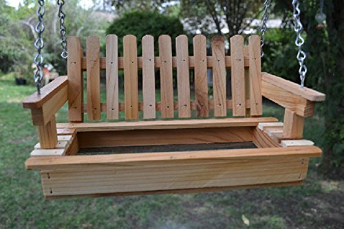 Thank You Gift Cedar Porch Swing Bird Feeder Bird Hang out - Free US Shipping Bird Fun 2-3 day delivery! ()