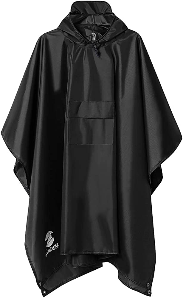 Multifunctional Mens Womens Rain Poncho Waterproof Outdoor Raincoat(Black): Clothing