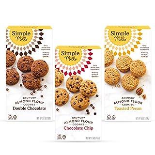 Simple Mills, Cookies Variety Pack, Chocolate Chip, Double Chocolate Chip, Toasted Pecan Variety Pack, 3 Count (Packaging May Vary)