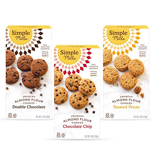 Simple Mills, Cookies Variety Pack, Chocolate Chip, Double Chocolate Chip, Toasted Pecan Variety Pack, 3 Count (Packaging May Vary)