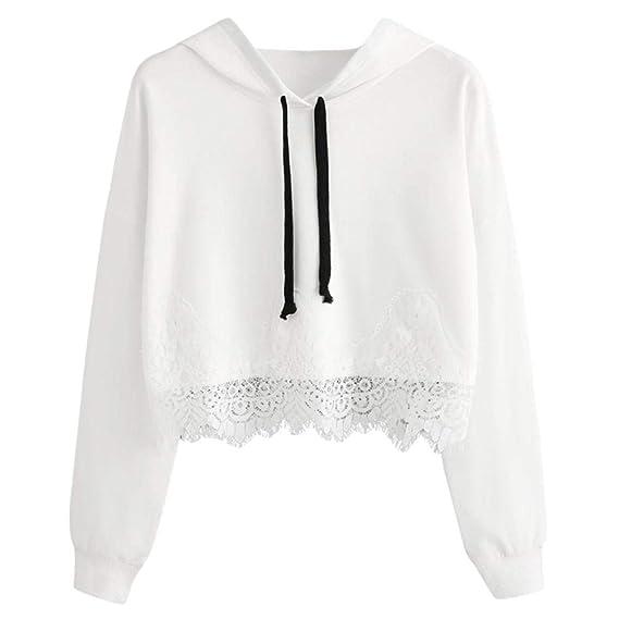Mujer Sudaderas, ASHOP Blouses Campesinas Embroidery Sweatshirt Sudadera con Capucha para Mujer Top Deporte (