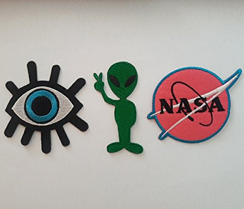 Iron on Patches Eye Eyeball Alien NASA 3 Pcs Set (Halloween College Stories)