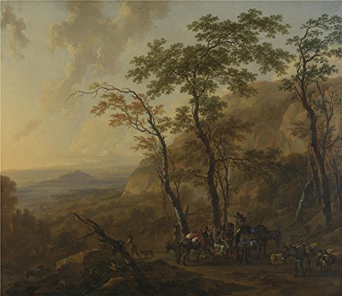 ['Nicolaes Berchem Mountainous Landscape With Muleteers ' Oil Painting, 18 X 21 Inch / 46 X 53 Cm ,printed On Perfect Effect Canvas ,this Cheap But High Quality Art Decorative Art Decorative Canvas Prints Is Perfectly Suitalbe For Garage Gallery Art And Home Gallery Art And] (God Of War 3 Costumes Hack)