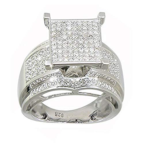 Sterling Silver Diamond Rings for Women - High Polished Design - Paved with ⅓ CT Round White Diamonds - Bridal Engagement Ring Set for Birthday, Wedding & Anniversary - Engagement Diamond Ring Square