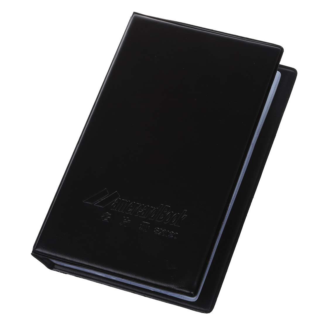 SODIAL (R) 120 cartes en cuir noir Nom de l'entreprise ID titulaire de la carte de credit Book Organizer Case SODIAL(R)