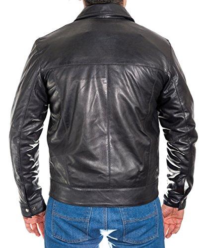 Da Cuoio Uomo Bombardiere Del Rivestimento Motociclista Collare Camicia Classica Nero Classiche Con Stile Di HHqwr0