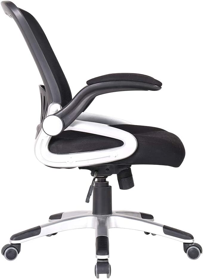 Zenith Mid Back Mesh Office Chair with Adjustable Armrest Lumbar Support Headrest Swivel Task Desk Chair Ergonomic Computer Chair Black Slim