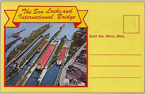 The Soo Locks - International Bridge - Sault Ste. Marie - 1980 Upper Michigan Card Co. Souvenir Postcard Folder