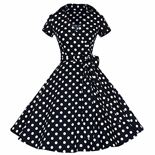 Samtree Womens Polka Dot Dress,Vintage 1950s Style Short Sleeves Rockabilly Dresses(XL(US 12),Polka Dot Black)