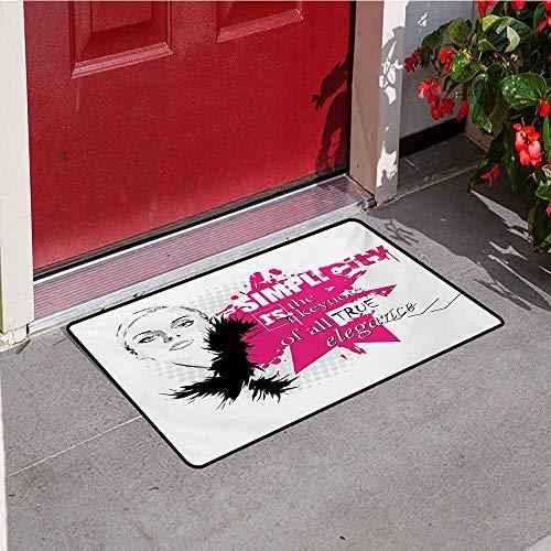 Jinguizi Girls Universal Door mat Lady Face with Makeup Simple Design Inspirational Vogue Fashion Theme Art Door mat Floor Decoration W19.7 x L31.5 Inch Black Pink Pale Grey -