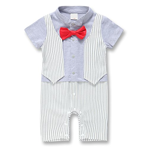 Baby Boy Rompers, Toddler Short Sleeve Tuxedo Suit Set Infant Outfit Onesie