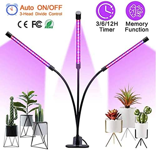 27W Plant Grow Light with Auto Turn On Function, Lamosh 54 LED Plant Grow Lamp with 3 6 12H Timer, 3-Head Divide Control Adjustable Gooseneck, 5 Dimmable Levels for Indoor Plants