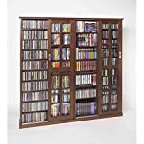 Leslie Dame MS-1400W Mission Style Multimedia Storage Cabinet with Sliding Glass Doors, Walnut