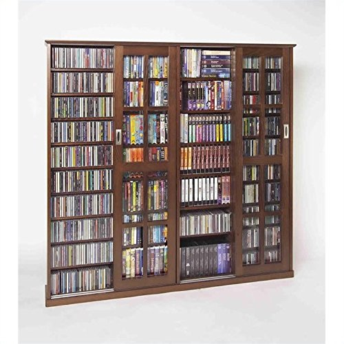 (Leslie Dame MS-1400W Mission Style Multimedia Storage Cabinet with Sliding Glass Doors, Walnut)