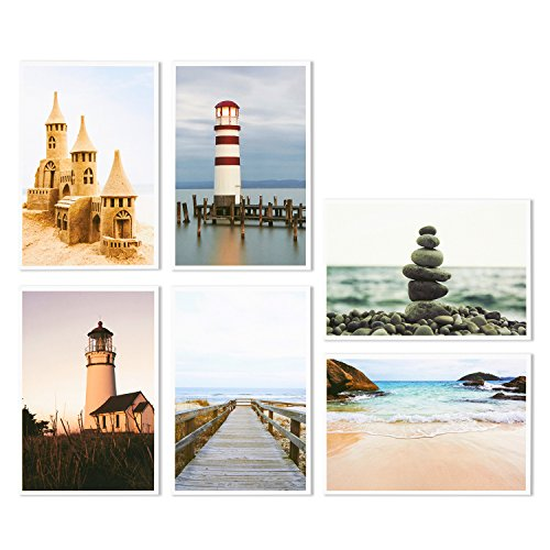 Nautical Beach Seaside Postcards - 40 Glossy Postcards - Bulk Set - Featuring Boats, Lighthouses, Sea Shells, Sand Castles - 4 x 6 Inches Photo #3