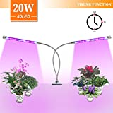 LED Grow Light 20W Dual Head Bulb Lamp 40 LEDs Growing Strip Blue Red UV Growth Lights 360°Flexible 3/6/12H Timer for Indoor Plants Hydroponics Greenhouse Gardening Plant [Upgraded 2018]