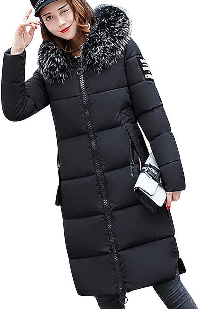 Tomwell Abrigo Plumas de Cremallera Acolchado Chaqueta Largo con Capucha de Larga para Mujer Invierno Chaqueta Plumón Parka