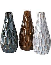 3 decoratieve structuur porselein vazen gesorteerd H 23 cm D 9 cm beige blauw bruin