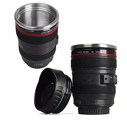 Camera Lens Cup 24-105 Coffee Travel Mug Thermos Stainless Steel, Leak-Proof Lid by Getza