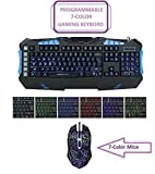 HDStars Gaming Keyboard and Mouse Combo Bundle. Programmable Keyboard w/Color LED Illuminated - 7 Color LED Mouse 2400-DPI for Microsoft Windows 10, 8.1, 8, 7, Vista, XP or Mac Os, X Series