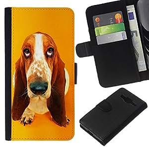 EJOY---La carpeta del tirón la caja de cuero de alta calidad de la PU Caso protector / Samsung Galaxy Core Prime / --Basset Hound gota colgante Dog Ear