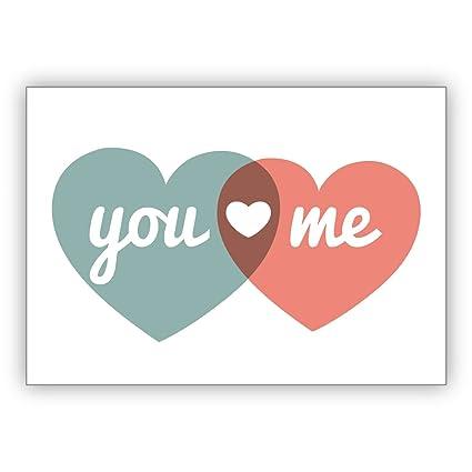 1 Tarjeta romántica de amor con dos corazones, no solo para ...