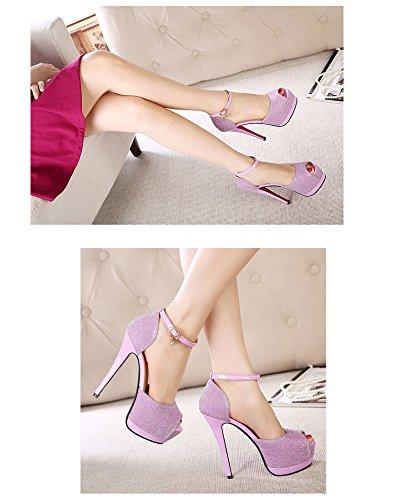 High Strap Buckle Women Ankle Prom Pump Peep Blue Shoe Toe Sandals Heel Platform Club fw6Zpxw
