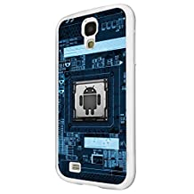 1237 - Cool Fun Trendy cute battery motherboard inside computer skeleton Design For Samsung Galaxy S4 Mini Fashion Trend CASE Back COVER Plastic&Thin Metal - White