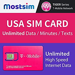 MOST SIM - T-Mobile USA SIM Card 15 Days, Unlimited High Speed Data/Calls/Texts, T-Mobile SIM Card US United States